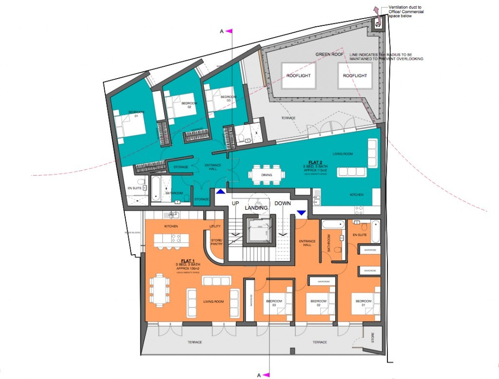 Proposed floor plan for the mixed-use residential scheme at Canning Town