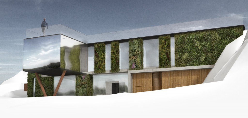 Earth sheltered eco-house with green walls and a reflective mirrored surface