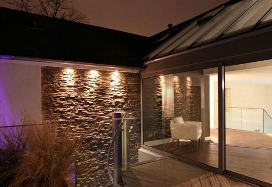 External terrace lighting at remodelled house in Cheltenham