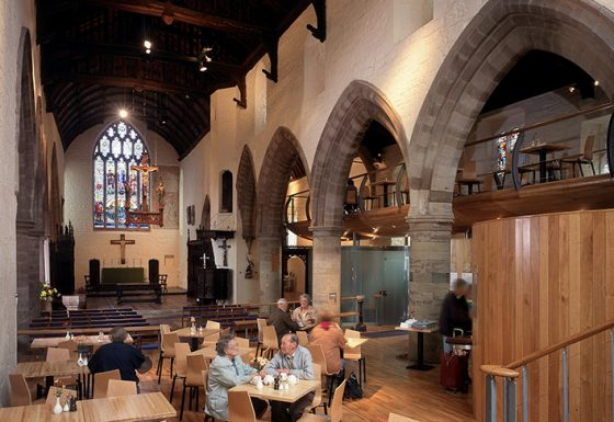 All Saints Church internal view showing Bill's Cafe