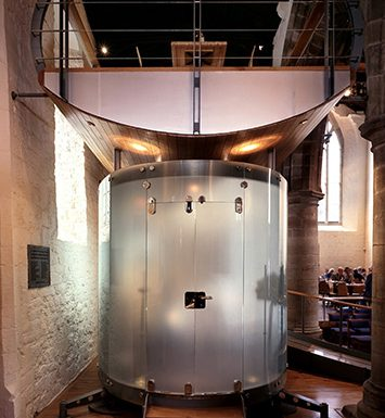 All Saints Church internal view showing one of the installed pods