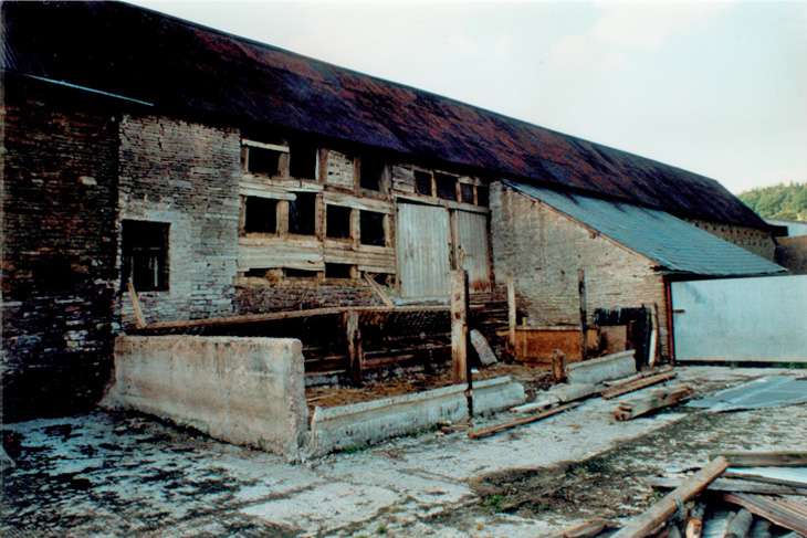 Ford Abbey Farm in it's delapidated state before work commenced.