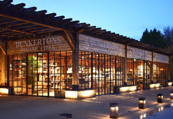 Dunkertons Cider facility in the evening