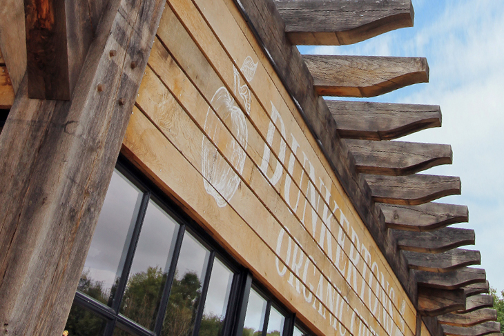 Close up view of the timber frame details at Dunkertons Cider production facility