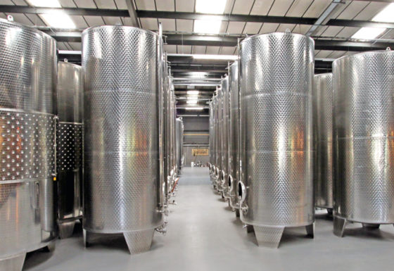 New cider vats at the production facility inside Dunkertons Organic Cider