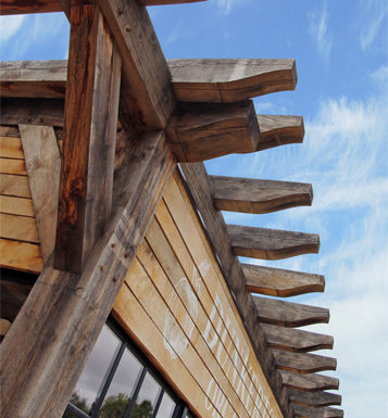 View of the timber frame details at Dunkertons Cider production facility