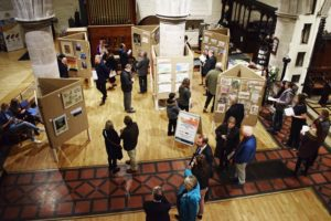The exhibition of entries for the Harrison Clark Rickerbys Charitable Art Competition in Hereford 2018. Sponsored by RRA Architects and held at All Saints Church, Hereford