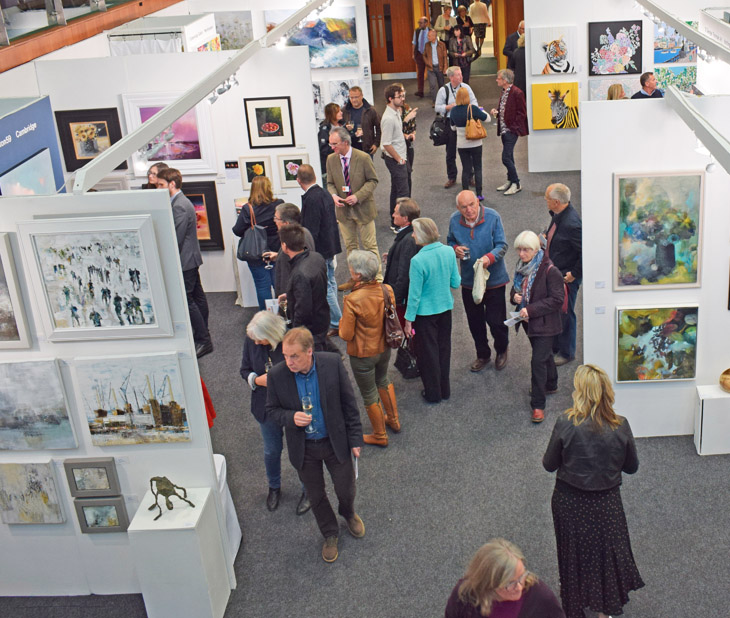 Visitors at the Private View of Fresh: Art Fair 2019 at Cheltenham Racecourse.