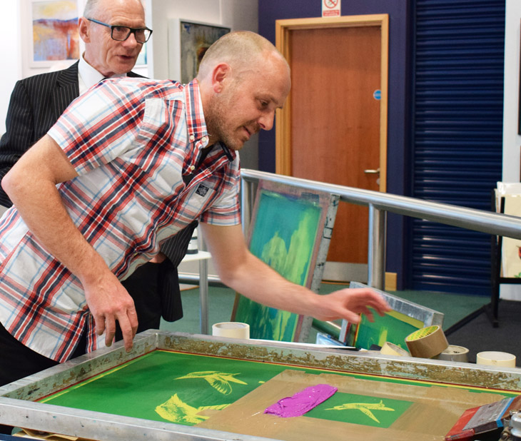 Talented screenprinter, Jim Starr, demonstrating screen printing. Jim is represented y The Paragon Gallery, Montpellier, Cheltenham.