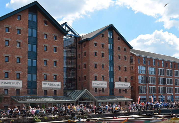Gloucester Docks looking great under the sunshine for the Dragonboat Regatta