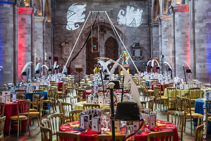Hereford Cathedral looking glorious in preparation for the Nave Dinner.