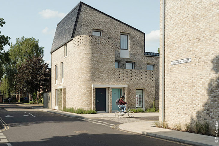 Stirling prize 2019 winner, Goldsmith Street, by Mikhail Riches with Cathy Hawley.