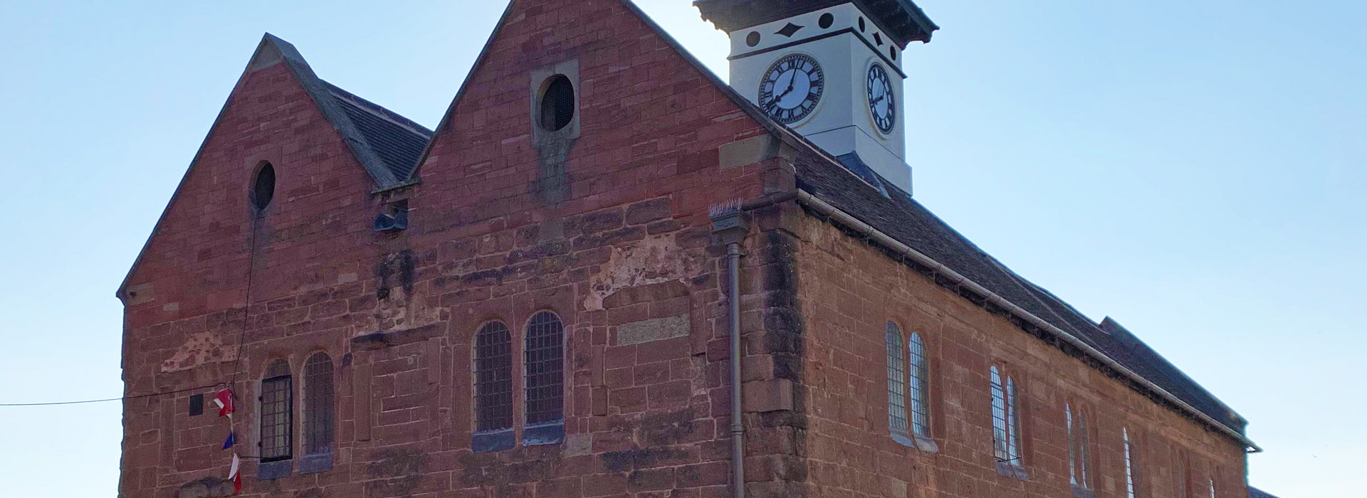 Recently repaired historic Market House in Ross-On-Wye town Centre, Herefordshire