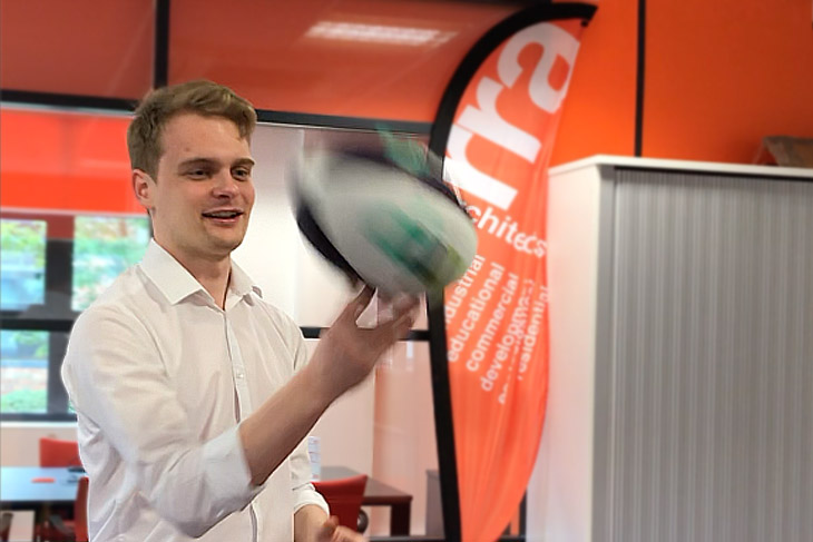Inpromptu games such as 'who can spin the ball the longest?' are brilliant at building bonds. (James won in our office).