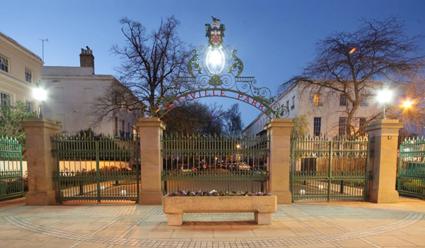 Pittville gates in Cheltenham