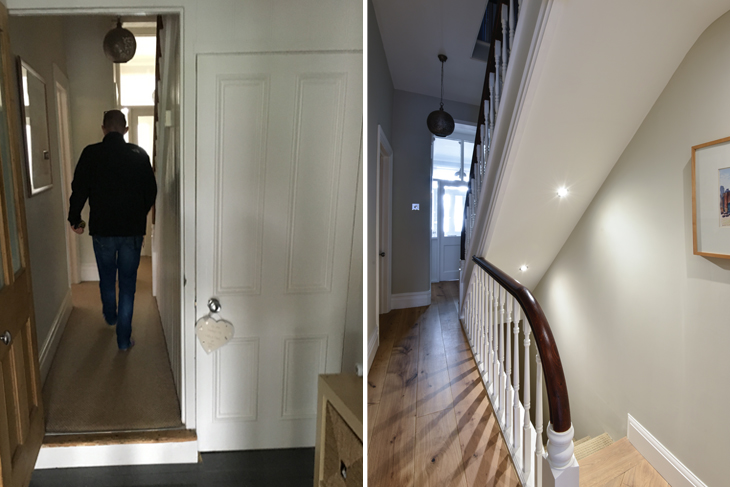 Before and after images of a typical hallway in a Victorian semi-detached house with the understairs area opened up to make the basement more welcoming and accessible.
