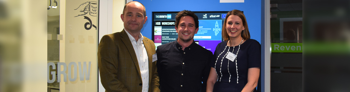 RRA MD Mark Powles and technologist Alex Astley-Jones with Katie Powers of The Growth Hub.