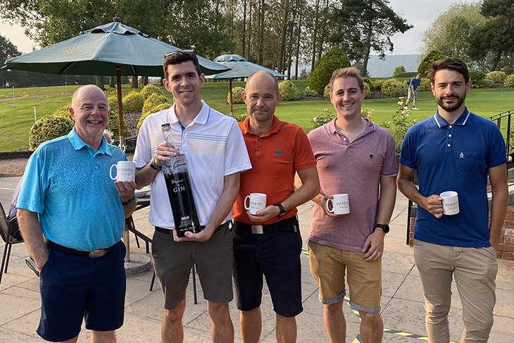 Charity day host, Mick Merrick of ABGi-UK with team of RRA's Tom Froggatt, Mark Powles and Oliver Smith with Matt Tompkins of Tompkins Thomas Planning.