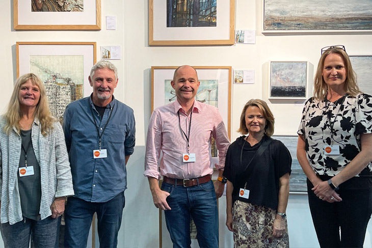 Artist exhibiting on the fresh@Fresh stand sponsored by RRA Architects. From the left: Angela Dooley, Andy Watt, RRA's MD Mark Powles, Jan Tapner and Zoe Ashbrook.