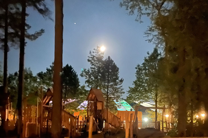 The moon shining down on the first night of the RRA 2021 trip to Center Parcs, Longleat, Warminster.
