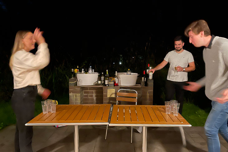 The weather was fabulous and even the evenings were warm enough to play Ball Pong outside.