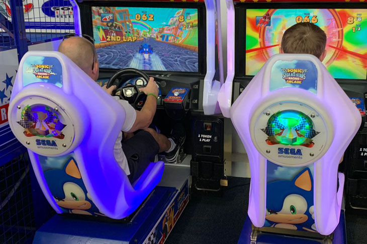 Mark Powles and Ryan Birch trying their hand at the arcade games.