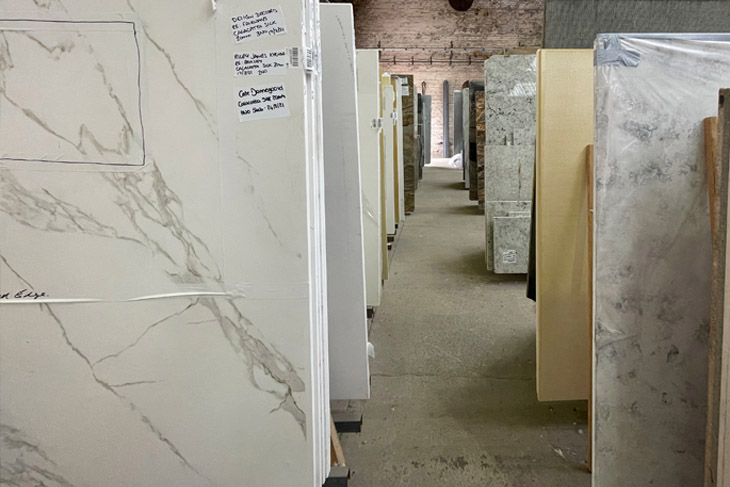 Once choosen the piece of marble can be marked up with which section is used for each application.