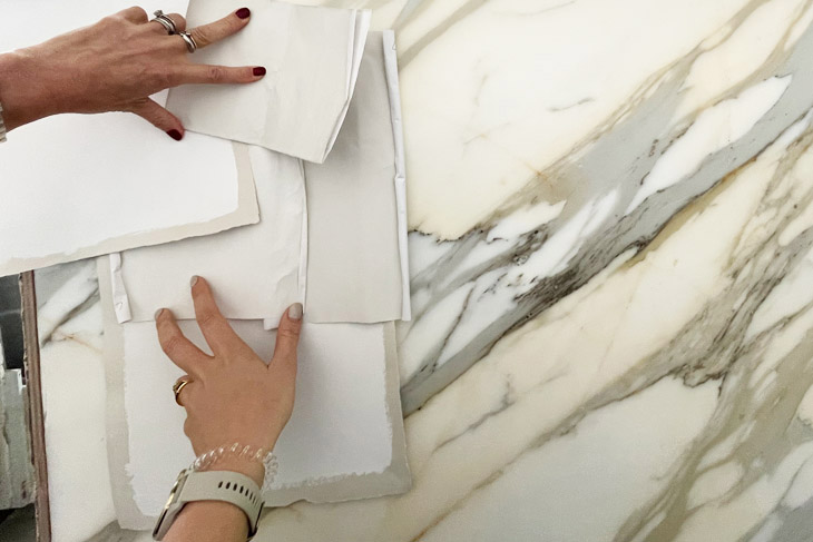 Choosing the exact piece of marble for your home.